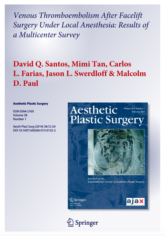 Venous Thromboembolism After Facelift Surgery Under Local Anesthesia: Results of a Multicenter Survey